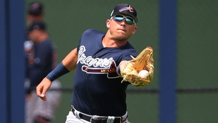 WEST PALM BEACH, FL - MARCH 13: Left fielder Austin Riley #74 of the Atlanta Braves catches a fly ball off the bat of Trea Turner of the Washington Nationals during the second inning of a spring training baseball game at Fitteam Ballpark of the Palm Beaches on March 13, 2019 in West Palm Beach, Florida. The Nationals defeated the Braves 8-4. (Photo by Rich Schultz/Getty Images)