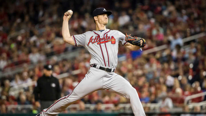 WASHINGTON, DC - SEPTEMBER 13: Mike Soroka #40 of the Atlanta Braves pitches against the Washington Nationals during the second inning at Nationals Park on September 13, 2019 in Washington, DC. (Photo by Scott Taetsch/Getty Images)