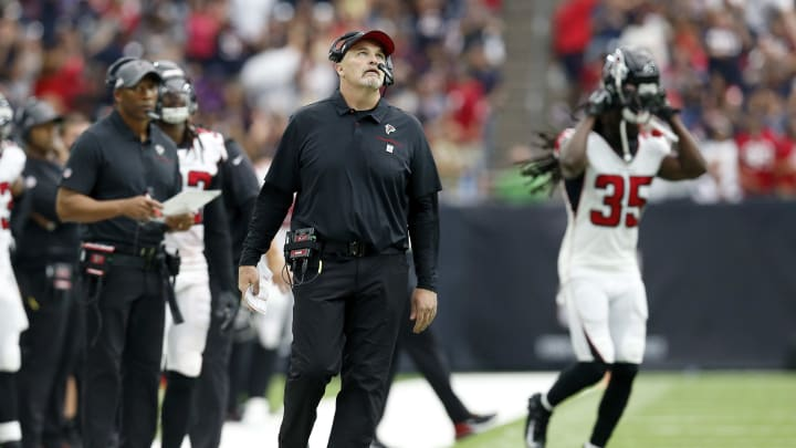HOUSTON, TX - OCTOBER 06:  Head coach Dan Quinn of the Atlanta Falcons reacts in the second half against the Houston Texans at NRG Stadium on October 6, 2019 in Houston, Texas.  (Photo by Tim Warner/Getty Images)
