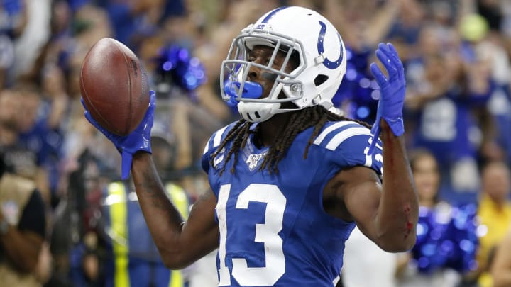 INDIANAPOLIS, INDIANA - SEPTEMBER 22: T.Y. Hilton #13 of the Indianapolis Colts celebrates after a touchdown during the second quarter in the game against the Atlanta Falcons at Lucas Oil Stadium on September 22, 2019 in Indianapolis, Indiana. (Photo by Justin Casterline/Getty Images)