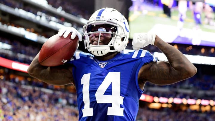 INDIANAPOLIS, IN - SEPTEMBER 22: Zach Pascal #14 of the Indianapolis Colts celebrates after making a touchdown catch during the first quarter of the game against the Atlanta Falcons at Lucas Oil Stadium on September 22, 2019 in Indianapolis, Indiana. (Photo by Bobby Ellis/Getty Images)