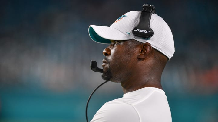 MIAMI, FL - AUGUST 08: Head coach Brian Flores of the Miami Dolphins coaching in the fourth quarter during a preseason game against the Atlanta Falcons at Hard Rock Stadium on August 8, 2019 in Miami, Florida. (Photo by Mark Brown/Getty Images)