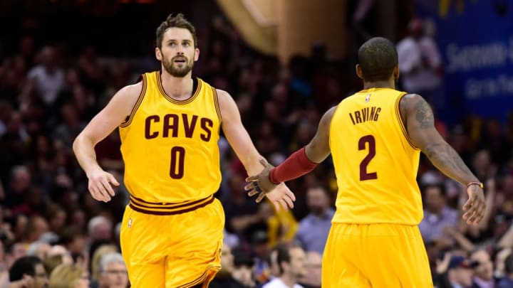 Kevin Love and Kyrie Irving on the Cleveland Cavaliers