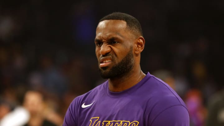 LOS ANGELES, CALIFORNIA - NOVEMBER 17:  LeBron James #23 of the Los Angeles Lakers looks on ahead of a game against the Atlanta Hawks at Staples Center on November 17, 2019 in Los Angeles, California. NOTE TO USER: User expressly acknowledges and agrees that, by downloading and or using this photograph, User is consenting to the terms and conditions of the Getty Images License Agreement.  (Photo by Katharine Lotze/Getty Images)