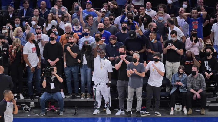 Celebrity Knicks fans in the unvaccinated section.
