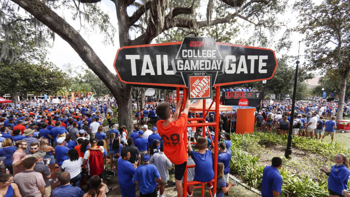 GAINESVILLE, FLORIDA - OCTOBER 05: Fans gather for ESPN's College Gameday at the University of Florida on October 05, 2019 in Gainesville, Florida. (Photo by James Gilbert/Getty Images)