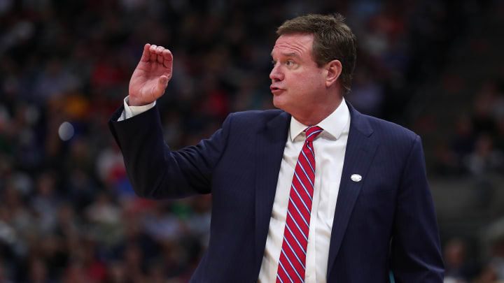 SALT LAKE CITY, UTAH - MARCH 23: Head coach Bill Self of the Kansas Jayhawks reacts to a play against the Auburn Tigers during their game in the Second Round of the NCAA Basketball Tournament at Vivint Smart Home Arena on March 23, 2019 in Salt Lake City, Utah. (Photo by Tom Pennington/Getty Images)