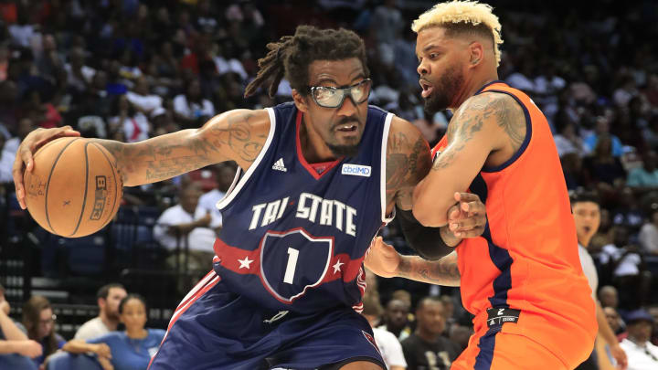 BIRMINGHAM, ALABAMA - JULY 06: Amar'e Stoudemire #1 of Tri-State drives the ball against Andre Emmett #2 of 3's Company during week three of the BIG3 three on three basketball league at Legacy Arena at the BJCC on July 06, 2019 in Birmingham, Alabama. (Photo by Andy Lyons/BIG3/Getty Images)