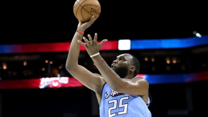 CHARLOTTE, NORTH CAROLINA - JUNE 29: Al Jefferson #25 of Triplets shoots against Trilogy during week two of the BIG3 three on three basketball league at Spectrum Center on June 29, 2019 in Charlotte, North Carolina. (Photo by Streeter Lecka/BIG3/Getty Images)