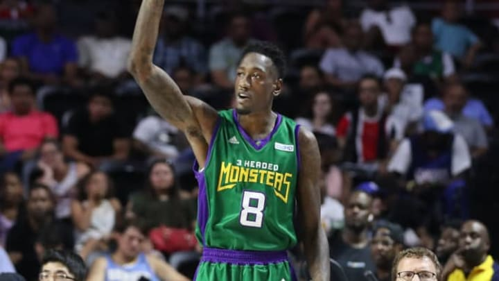 PHILADELPHIA, PENNSYLVANIA - JUNE 30: Larry Sanders #8 of the 3 Headed Monsters reacts from the bench against the Aliens during week two of the BIG3 three on three basketball league at at the Liacouras Center on June 30, 2019 in Philadelphia, Pennsylvania. (Photo by Rob Carr/BIG3/Getty Images)