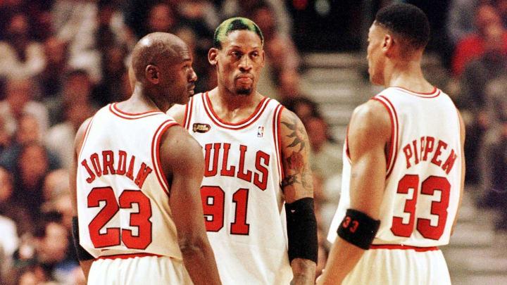Michael Jordan, Dennis Rodman and Scottie Pippen on the Chicago Bulls