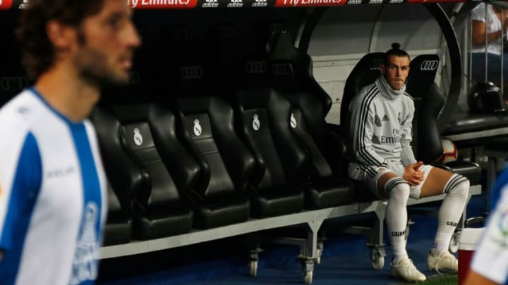 Bale (Real Madrid) in the bench before the La Liga match...