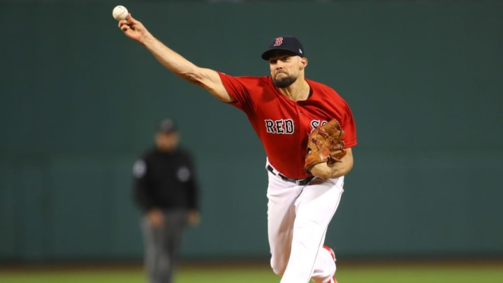 BOSTON, MASSACHUSETTS - SEPTEMBER 27: Starting pitcher Nathan Eovaldi #17 of the Boston Red Sox throws against the Baltimore Orioles during the first inning at Fenway Park on September 27, 2019 in Boston, Massachusetts. (Photo by Maddie Meyer/Getty Images)