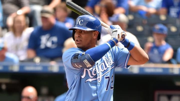 KANSAS CITY, MO - SEPTEMBER 2: Meibrys Viloria #72 of the Kansas City Royals bats against the Baltimore Orioles in the fourth inning at Kauffman Stadium on September 2, 2018 in Kansas City, Missouri. Viloria made his major league debut in the game. (Photo by Ed Zurga/Getty Images)