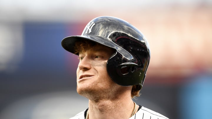 NEW YORK, NEW YORK - MAY 15: Clint Frazier #77 of the New York Yankees reacts during the first inning of game two of a double header against the Baltimore Orioles at Yankee Stadium on May 15, 2019 in the Bronx borough of New York City. (Photo by Sarah Stier/Getty Images)