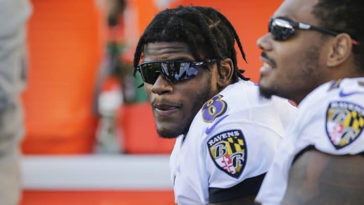 CINCINNATI, OHIO - NOVEMBER 10: Lamar Jackson #8 of the Baltimore Ravens on the sideline during the game against the Cincinnati Bengals at Paul Brown Stadium on November 10, 2019 in Cincinnati, Ohio. (Photo by Silas Walker/Getty Images)
