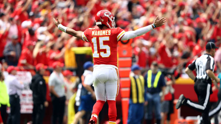 KANSAS CITY, MISSOURI - SEPTEMBER 22:  Quarterback Patrick Mahomes #15 of the Kansas City Chiefs celebrates after passing for a touchdown during the game against the Baltimore Ravens at Arrowhead Stadium on September 22, 2019 in Kansas City, Missouri.  (Photo by Jamie Squire/Getty Images)