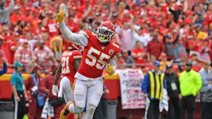 KANSAS CITY, MO - SEPTEMBER 22:  Defensive end Frank Clark #55 of the Kansas City Chiefs reacts after a defensive stop against the Baltimore Ravens during the second half at Arrowhead Stadium on September 22, 2019 in Kansas City, Missouri. (Photo by Peter Aiken/Getty Images)