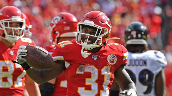 KANSAS CITY, MO - SEPTEMBER 22:  Running back Darrel Williams #31 of the Kansas City Chiefs reacts after picking up a first down against the Baltimore Ravens during the second half at Arrowhead Stadium on September 22, 2019 in Kansas City, Missouri. (Photo by Peter Aiken/Getty Images)