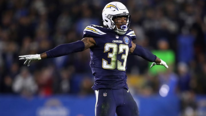 CARSON, CA - DECEMBER 22:  Derwin James #33 of the Los Angeles Chargers reacts to a broken pass play during the second half of a game against the Baltimore Ravens at StubHub Center on December 22, 2018 in Carson, California.  (Photo by Sean M. Haffey/Getty Images)
