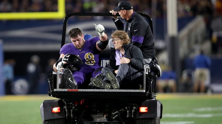 LOS ANGELES, CALIFORNIA - NOVEMBER 25:  Center Matt Skura #68 of the Baltimore Ravens is carted off the field after an injury in the game against the Los Angeles Rams at Los Angeles Memorial Coliseum on November 25, 2019 in Los Angeles, California. (Photo by Sean M. Haffey/Getty Images)