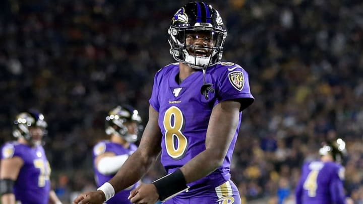 LOS ANGELES, CALIFORNIA - NOVEMBER 25:  Quarterback Lamar Jackson #8 of the Baltimore Ravens celebrates a play during the game against the Los Angeles Rams at Los Angeles Memorial Coliseum on November 25, 2019 in Los Angeles, California. (Photo by Sean M. Haffey/Getty Images)