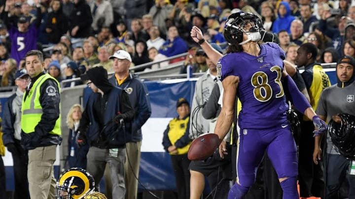 LOS ANGELES, CALIFORNIA - NOVEMBER 25:  Wide receiver Willie Snead #83 of the Baltimore Ravens celebrates a touchdown in the fourth quarter over the defense of defensive back Marqui Christian #26 of the Los Angeles Rams at Los Angeles Memorial Coliseum on November 25, 2019 in Los Angeles, California. (Photo by Kevork Djansezian/Getty Images)
