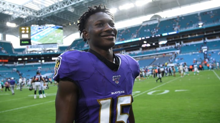 MIAMI, FLORIDA - SEPTEMBER 08: Marquise Brown #15 of the Baltimore Ravens leaves the field after the game against the Miami Dolphins at Hard Rock Stadium on September 08, 2019 in Miami, Florida. (Photo by Mark Brown/Getty Images)