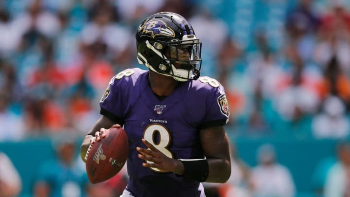MIAMI, FLORIDA - SEPTEMBER 08:  Lamar Jackson #8 of the Baltimore Ravens looks to pass against the Miami Dolphins during the third quarter at Hard Rock Stadium on September 08, 2019 in Miami, Florida. (Photo by Michael Reaves/Getty Images)