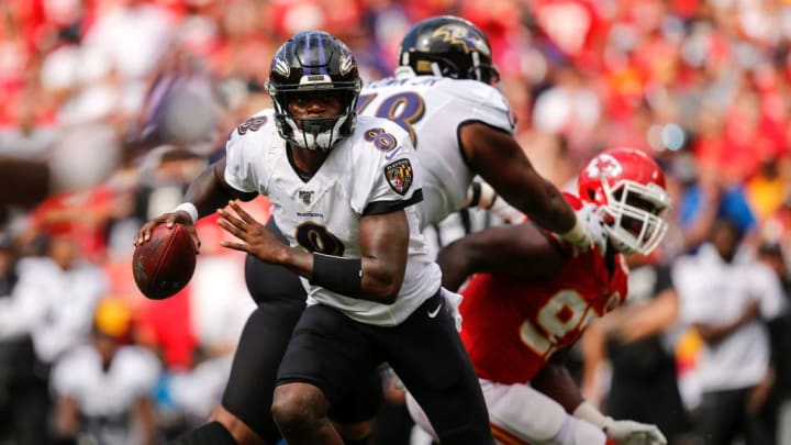 KANSAS CITY, MO - SEPTEMBER 22: Lamar Jackson #8 of the Baltimore Ravens scrambles for a nine-yard touchdown run in the fourth quarter against the Kansas City Chiefs at Arrowhead Stadium on September 22, 2019 in Kansas City, Missouri. (Photo by David Eulitt/Getty Images)