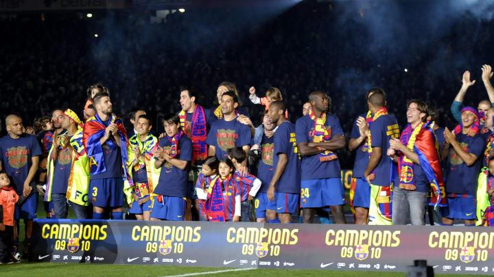 Barcelona players celebrate after winnin