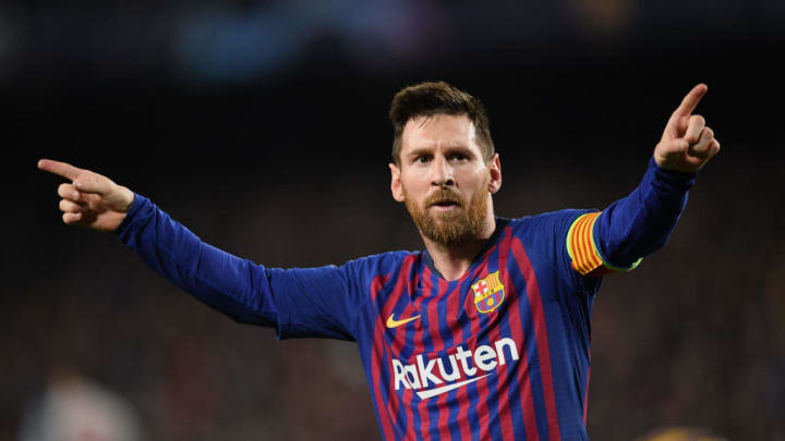 BARCELONA, SPAIN - MAY 01: Lionel Messi of Barcelona celebrates after scoring his team's third goal during the UEFA Champions League Semi Final first leg match between Barcelona and Liverpool at the Nou Camp on May 01, 2019 in Barcelona, Spain. (Photo by Matthias Hangst/Getty Images)