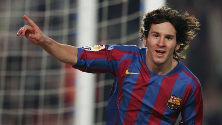 Barcelona's Argentinian Leo Messi celebr