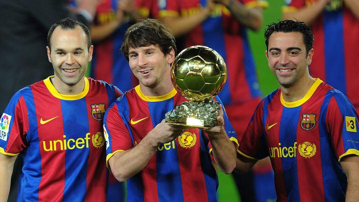 Andres Iniesta, Lionel Messi, dan Xavi