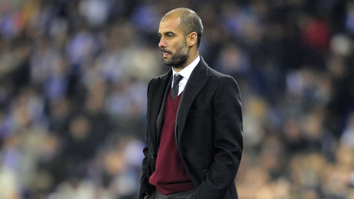 Barcelona's coach Josep Guardiola looks