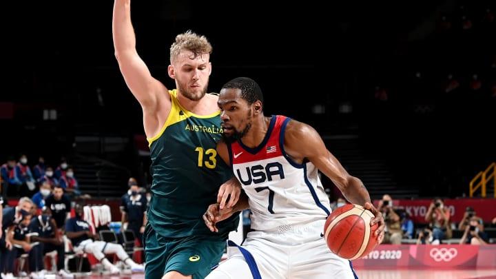 Kevin Durant, Jock Landale - Basketball - Olympics: Day 13