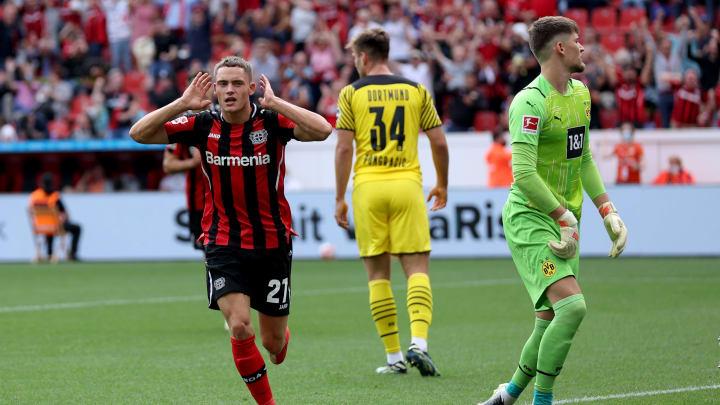 Bejubelt seinen Treffer gegen den BVB: Florian Wirtz (links)