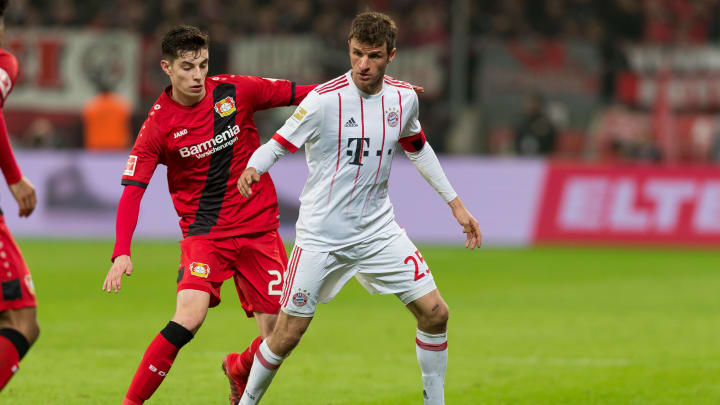 Thomas Müller and Kai Havertz representing their respective Bundesliga clubs