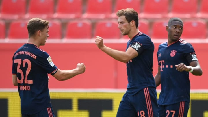 FC Bayern celebrate one of three first-half goals.
