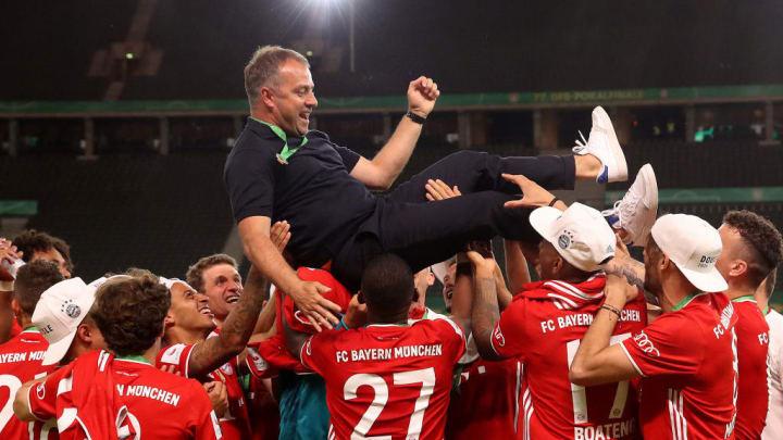 Bayern players and manager Hansi Flick