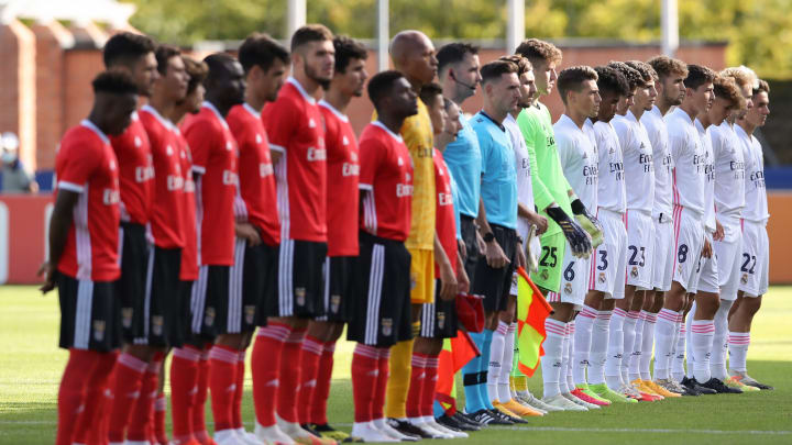 Benfica and Real Madrid line up for the UEFA Youth League final