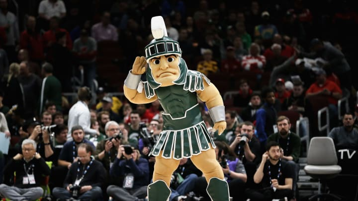 CHICAGO, ILLINOIS - MARCH 15:  Michigan State Spartans mascot Sparty performs during the quarterfinals of the Big Ten Basketball Tournament at United Center on March 15, 2019 in Chicago, Illinois. (Photo by Dylan Buell/Getty Images)