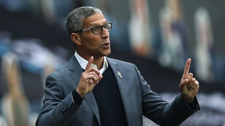 Chris Hughton delivers his instructions from the touchline against Blackburn Rovers