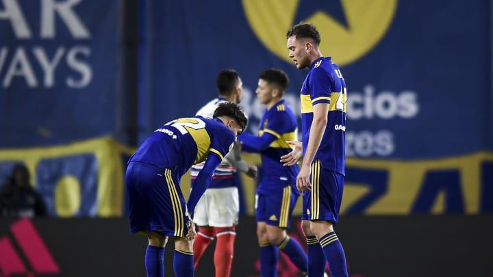 Boca Juniors v San Lorenzo - Torneo Liga Profesional 2021 - Boca se lamenta tras la derrota.