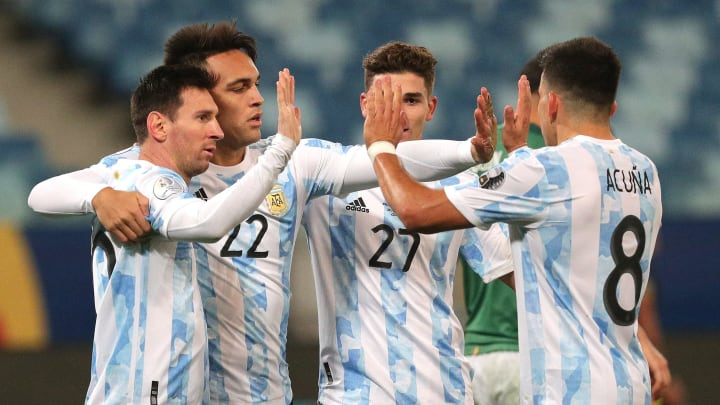 L'Argentina festeggia un gol in Copa America