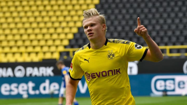 Erling Haaland scored his 13th goal in Dortmund colours in last weekend's Revierderby victory