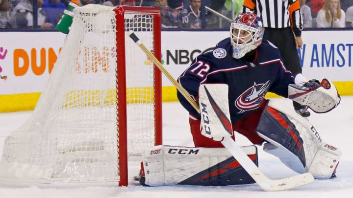 COLUMBUS, OH - APRIL 30:  Sergei Bobrovsky #72 of the Columbus Blue Jackets follows the puck while playing against the Boston Bruins in Game Three of the Eastern Conference Second Round during the 2019 NHL Stanley Cup Playoffs on April 30, 2019 at Nationwide Arena in Columbus, Ohio. Columbus defeated Boston 2-1. (Photo by Kirk Irwin/Getty Images)