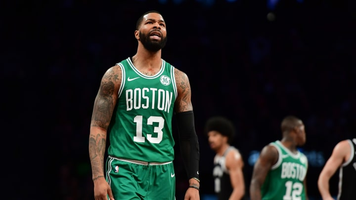 NEW YORK, NEW YORK - JANUARY 14: Marcus Morris #13 of the Boston Celtics reacts to a call during the fourth quarter of the game against the Brooklyn Nets at Barclays Center on January 14, 2019 in the Brooklyn borough of New York City. The Nets defeat the Celtics 109-102. NOTE TO USER: User expressly acknowledges and agrees that, by downloading and or using this photograph, User is consenting to the terms and conditions of the Getty Images License Agreement. (Photo by Sarah Stier/Getty Images)