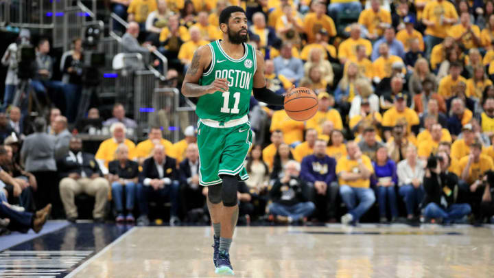 INDIANAPOLIS, INDIANA - APRIL 19: Kyrie Irving #11 of the Boston Celtics dribbles the ball against the Indiana Pacers in game three of the first round of the 2019 NBA Playoffs at Bankers Life Fieldhouse on April 19, 2019 in Indianapolis, Indiana.  NOTE TO USER:  User expressly acknowledges and agrees that , by downloading and or using this photograph, User is consenting to the terms and conditions of the Getty Images License Agreement. (Photo by Andy Lyons/Getty Images)