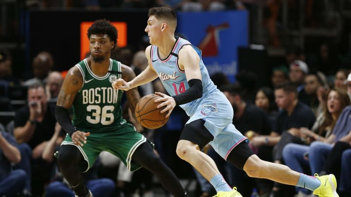 Celtics' Marcus Smart guarding Heat's Tyler Herro